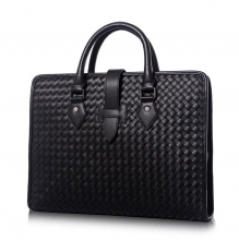 High end good quality woven leather men laptop briefcase bag