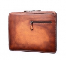 Hot selling vintage style real leather clutch briefcase bag for business