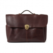 High quality low price reddish brown leather shoulder briefcase bag for men