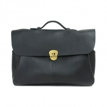 Italy imported genuine leather black briefcase handbag for men