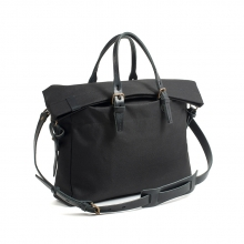 New season fashionable waterproof black canvas tote business bag with shoulder strap