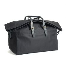 Large capacity black canvas duffle bag with leather shoulder strap