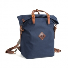 Good quality durable real leather navy blue sport rucksack for boys