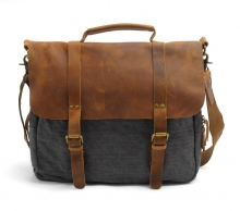Good quality designer brand vintage leather canvas messenger bag for men