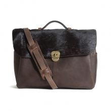 Luxury design brown leather with black fur messenger bag for fashion men
