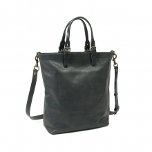 High end fashion design black leather tote bag handbag with shoulder strap for men