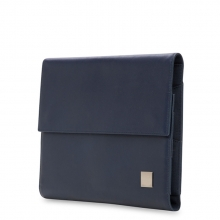 Oem order promotional navy blue genuine leather tablet computer sleeve