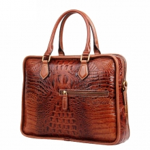 Factory price good quality luxury design brown croc print leather laptop briefcase for men
