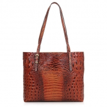2017 fashion luxury vintage brown croc print leather ladies tote hand bag