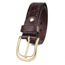 Factory custom design vintage style italy leather waist belt 3.5cm wide leather belt for men