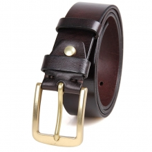 Factory price vintage top quality italy leather belt brass buckle real leather belt for men