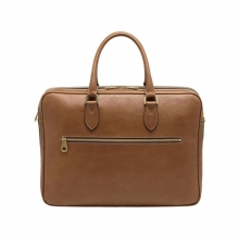 Luxury high end full grain leather mens briefcase shoulder bag