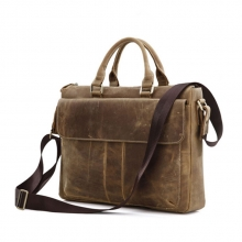 China factory wholesale brown leather business laptop bag briefcase for man