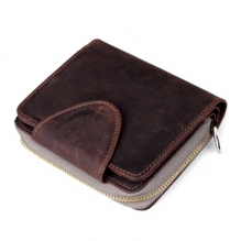 Vintage style custom real crazy horse leather man zipper wallet