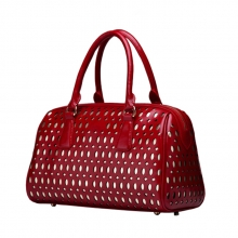 Famous designer trend women's red hollow out leather bag