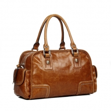 China manufacturer vintage brown genuine leather bag for ladies