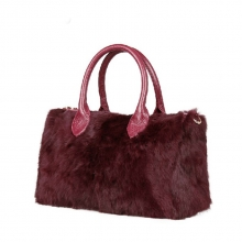 Factory price good quality luxury christmas gift fur bag leather for ladies