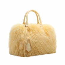 Newest design winter party luxury custom fur leather tote bag wholesale for woman 2015