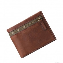 Fashion design high quality man genuine cow leather slim wallet case