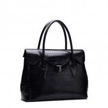 Branded luxury design crocodile texture cow leather woman handbag