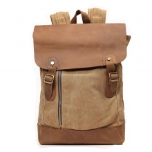 Classical design trend khaki thick canvas leather rucksack backpack for teens