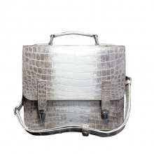 Good quality luxury design white real crocodile leather messenger bag for men