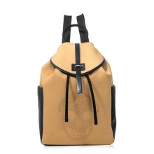 Famous design high end custom khaki canvas leather backpack for teens