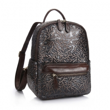 Manufacturer price good quality vintage design brown leather bag leather student backpack