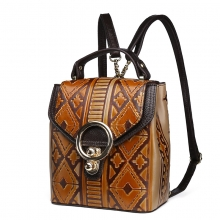 Hot selling good quality vintage brown cow leather ladies handbag women backpack