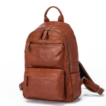 Fashion designer bag vintage brown leather school backpack leather student backpack for men
