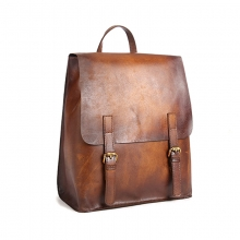 2018 New arrival low price good quality retro brown leather backpack for men