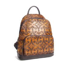 2018 Hot selling factory price retro brown style real leather bag backpack for school