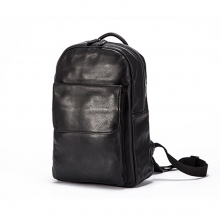 Good price top quality black grain leather laptop backpack real leather school backpack men