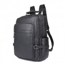 Guangzhou factory price good quality black leather laptop bag genuine leather backpack for men