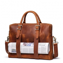 Factory price good quality crazy horse leather laptop bag real leather briefcase for men