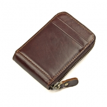 Factory price fashion design promotion gift zipper brown card wallet rfid credit cards holder
