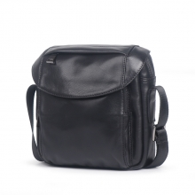 Amazon hot selling good quality black leather crossbody bag real leather shoulder bag for men