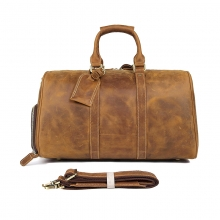 Manufacturer good quality real leather large capacity travel bag leather duffle with shoes space