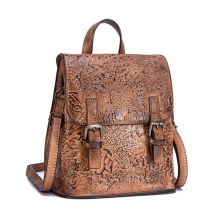 New arrivel factory price mini size vintage brown design real leather backpack for women