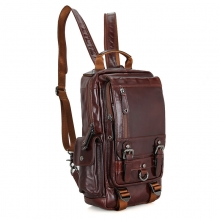Fashion design travel backpack genuine leather laptop backpack bag for men