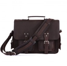 China handbag manufacturer good quality dark brown leather laptop bag messenger bag