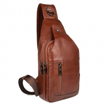 2018 Cheap price good quality sport bag brown leather chest bag for men