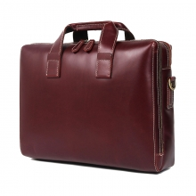 Factory price high quality redwine cow leather laptop bag leather briefcase for men