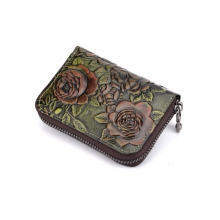 Cheap price good quality promotion gift small size flowers pattern zipper leather card wallet