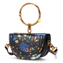 2018 fashion new collection flowers pattern handbag genuine leather purse for women