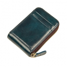 New design wholesale price zipper card wallet genuine leather rfid credit cards holder