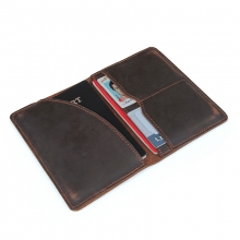 Hot selling good quality vintage brown cow leather passport cover passport holder for traveling
