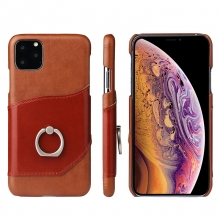 Hot selling wholesale price genuine leather mobile phone cases iphone11 cases with metal ring