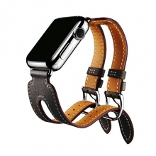 38mm 42mm Hot selling fashion double straps design black leather apple watch strap