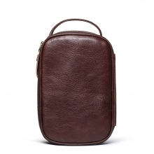 Factory price good quality full grain leather travel bag leather cosmetic bag for men and women